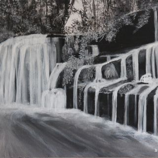 Waterfall In Monochrome Painting