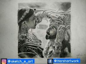 couple portrait sketch padmavat
