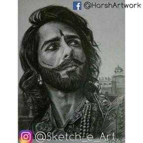 pencil sketch of shahid
