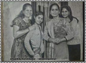 group pencil sketch