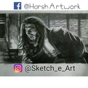 pencil sketch of khilji