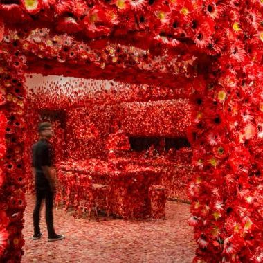 Exhibition image of Yayoi Kusama's Flower obsession 2017 on display in NGV Triennial at NGV International 2017. Supported by the NGV Women's Association, with travel support from the Australia-Japan Foundation of the Department of Foreign Affairs and Trade. Photo: Eugene Hyland.
