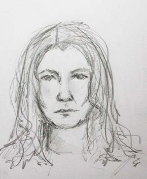 self portrait sketch , Shelley Hall