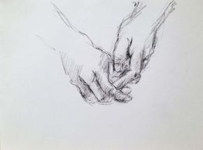 Hand study, Shelley Hall