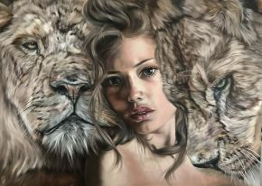 Valentina Andrees-Queen of Lions-Oil on Canvas-140x100cm-2019-EUR5500