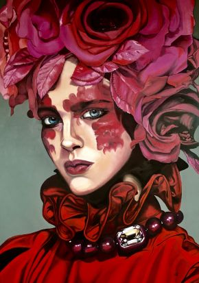 Valentina Andrees-Roses Woman-Oil on canvas-100x140cm-2019-EUR6100