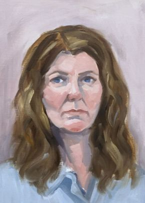 Self Portrait in painting shirt 2018, Shelley Hall