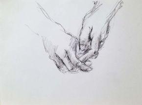 Hand study, Shelley Hall