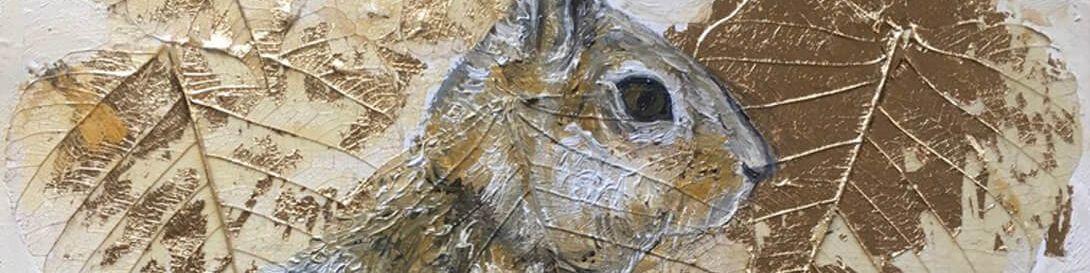Autumn Hare, Johanna McWeeney, oil and gold leaf on canvas 2