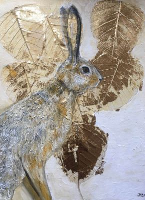 Autumn Hare, Johanna McWeeney, oil and gold leaf on canvas 2