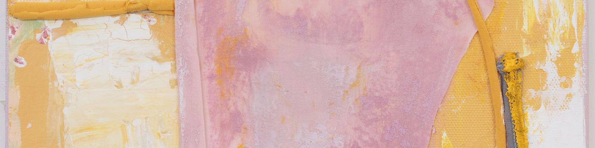 Anna Caione  Giallo e Rosa II, 2018, fabric _ Acrylic on canvas, 25cmx20cm