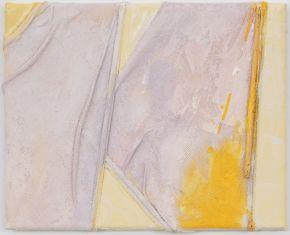 Anna Caione  Giallo e Rosa III, 2018, fabric _ Acrylic on canvas, 25cmx20cm
