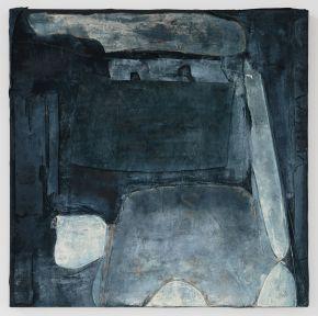 Anna Caione Gesto Blu,2018, fabric _ Mixed media on canvas, 100cmx100cm