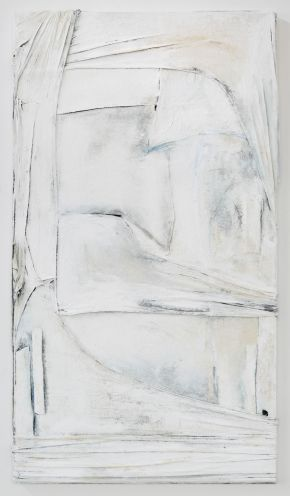 4.Anna Caione White On White II, 2018, fabric, pigment _ mixed media on canvas, 92cmx51cm