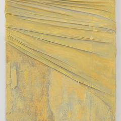 2.Anna Caione Yellow Pull _ Wrap II, 2018, Fabric _ Mixed media on canvas, 92cmx51cm