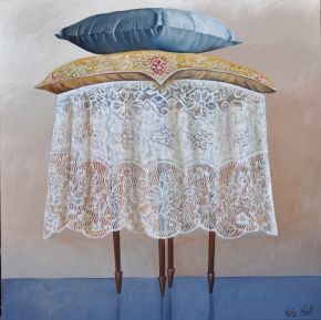4. Table Oil and Collage on Canvas 91 x 91cm
