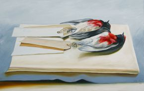 Floating Robins 2008 oil on canvas 70 x110cm