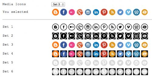Features: Select social media icons