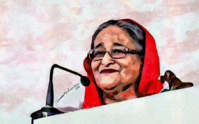 Sheikh Hasina - a leader with courage and vision by Artist Saidul Islam