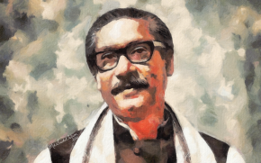 Portrait Of Bangabandhu Sheikh Mujibur Rahman  by Artist Saidul Islam