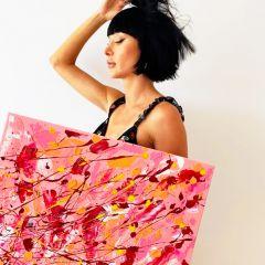 Bridget Bradley with Broken Blush Original Painting 800px