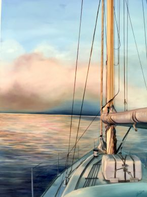 Perfect Peace On The Bay $2400 by Claire Spring