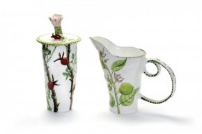 Lemon Pitcher and Rosehip Container by Fiona Hiscock