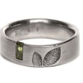 Leaf Ring- Baguette Gem Set by Nina Ellis Jewellery