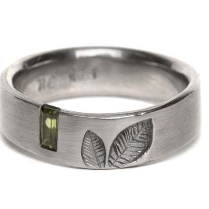 Leaf Ring- Baguette Gem Set by Nina Ellis Jewellery