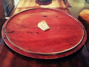 Fiddle back redgum platter by Malcolm Bird