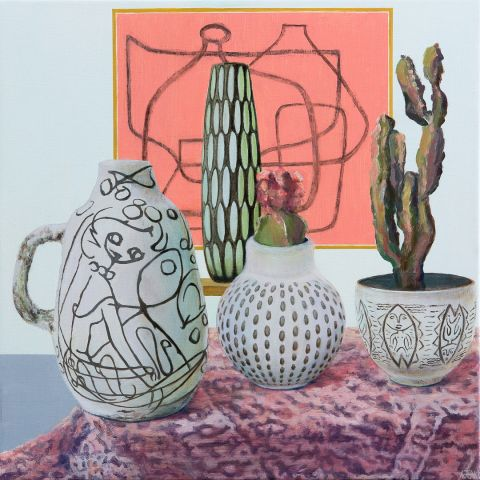 Double Still Life with Cacti by Toni Walker