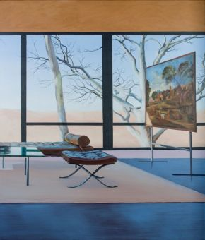 Glass house interior with Poussin Painting (The Burial of Phocian) by Toni Walker