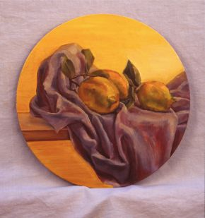 Drapery with 3 lemons by Toni Walker